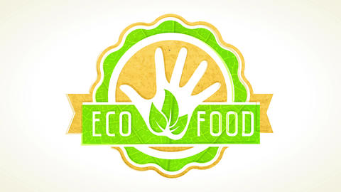 eco food sign with paper and leaf texture layers forming graphic for business selling healthy Animation