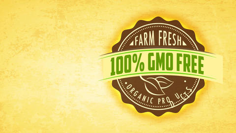 healthful farm fresh good insignia promoting healthy 100 rate gmo free aliment recycled texture Animation