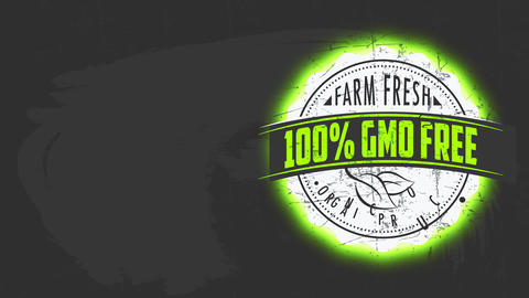 retro circular tag for farm fresh organic nourishment good with 100 percent gmo free guarantee medal Animation