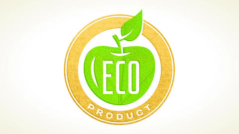 eco product ad for natural food producers with green leaf forming apple inside recycled cardboard Animation