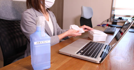 Office ladies disinfection infection prevention office disinfection alcohol ethanol disinfection gel Live Action