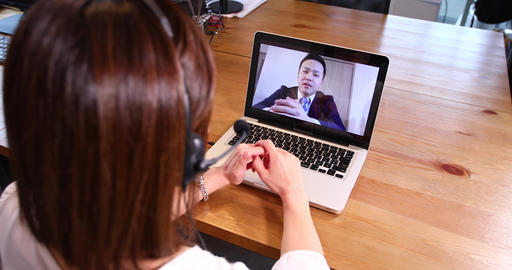 OL Remote Work Video Conference Business Meeting Office PC Female Office Worker office lady Live Action