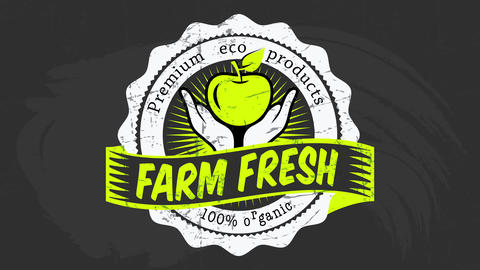 100 percent organic distinctive tag with green letters on chalkboard for premium eco farm fresh food Animation