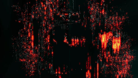 pixelated digital glitch art concept animation with colorful orange noise Animation