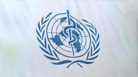 Waving Flag Of Blue World Health Organization Logo On White Background Animation