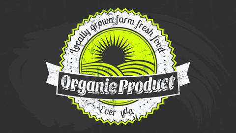 premium quality fruit vegetables farm food products brand on chalkboard background promoting healthy Animation