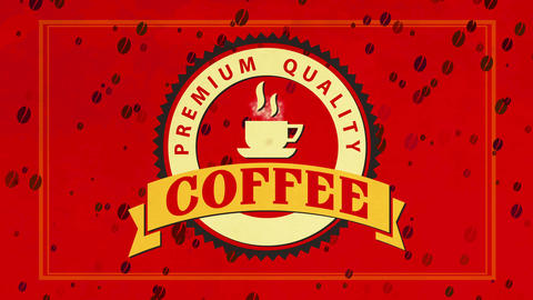 packet covering idea for premium value coffee with glowing teacup in curve imprint over red tissue Animation