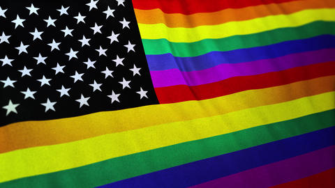 Gay America - LGBT pride flag with added canton of the flag of the United States Animation