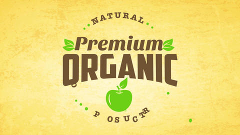 minimalist premium organic farm food products icon with apple and leafs decoration on vintage Animation
