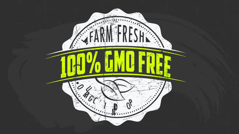 retro rounded tag for farm fresh organic food products with 100 percent gmo free guarantee ribbon Animation