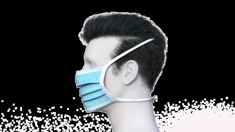 3D models of men in masks go line, animation, transparent background,loop Live Action