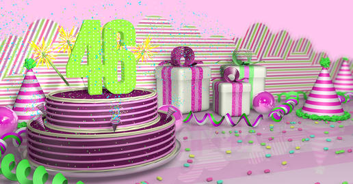 Purple round 46 birthday cake decorated with colored sparks and pink lines on a table with green Fotografía