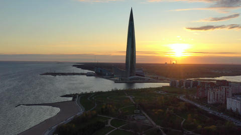 Russia, St.Petersburg, 06 May 2020: Aerial panoramic image of highest skyscraper Live Action