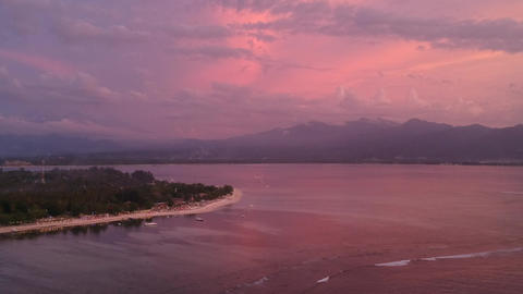 pink colorful sunset gili air indonesia ライブ動画