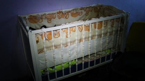Beautiful Baby cot in the room GIF