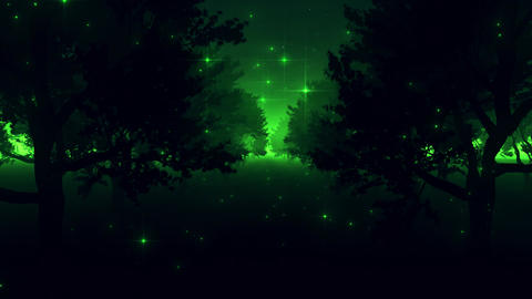 Green Enchanted Forest by Night VJ Loop Background Animation