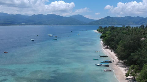 decline down the drone over the shelf of the tropical island of gili islands and Live Action