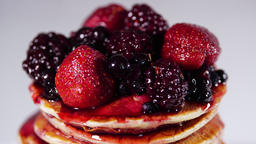 Pancakes with Sweet Berry Jam, Tasty breakfast, Stack of Pancakes in Syrup Live Action