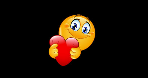 Emoji emoticon hugging red heart animation Animation