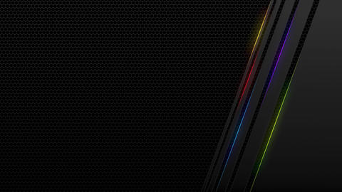 Dark tech abstract motion design with rainbow color neon lines. Glowing futuristic technology Animation