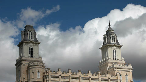 Mormon Manti Temple fast clouds P HD 3640 Footage