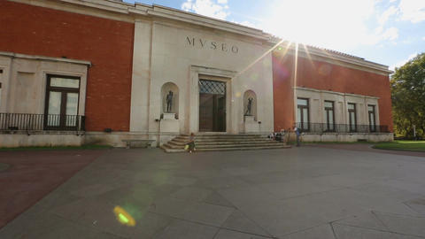 Bilbao Fine Arts Museum entrance, place of tourist interest in Spain, sunny day Live Action