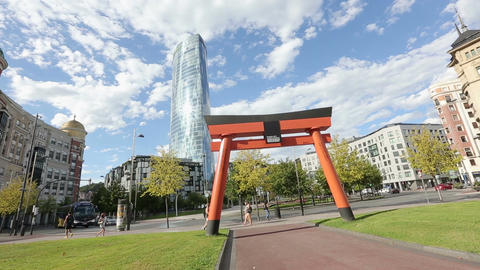 Japanese Art and Japonisme torii arch in Bilbao, good luck and prosperity symbol Footage