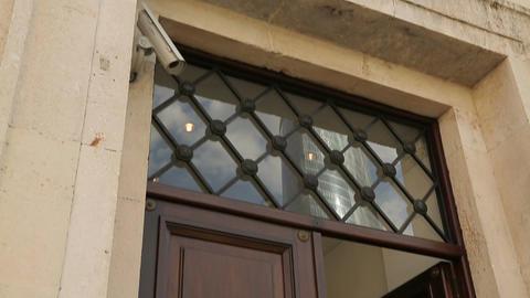 Door of luxury apartment house or hotel under video surveillance, arts museum Footage
