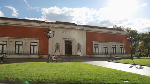 Old entrance of Bilbao Fine Arts Museum, people having rest in nice city park Footage