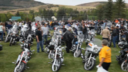 Motorcycle Rally rest stop pan P HD 2219 Footage