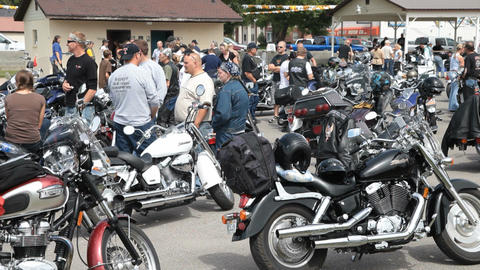 Motorcycle rally at rest stop P HD 2234 Live Action
