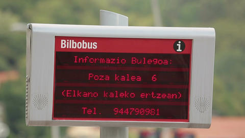 Municipal public transport schedule information on LED board at the bus stop Live Action