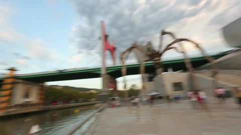 La Salve Bridge across Nervion river, Maman spider near Guggenheim Museum Footage