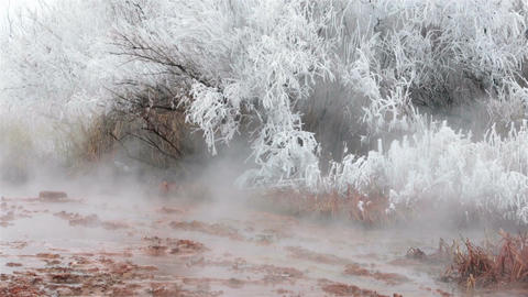 Natural hot springs mist hoar frost winter fast HD 5074 Footage