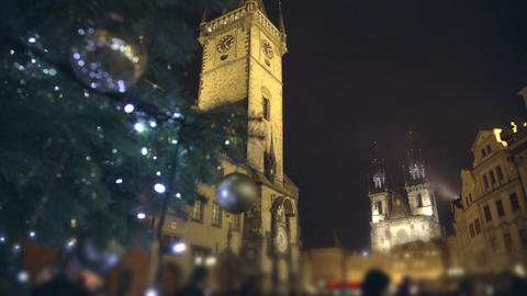 Famous medieval astronomical clock at Old Town Square in Prague, Czech Republic Footage