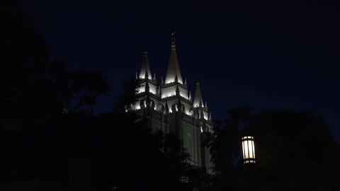 Night Mormon LDS Salt Lake City Utah Temple spires 4K Footage