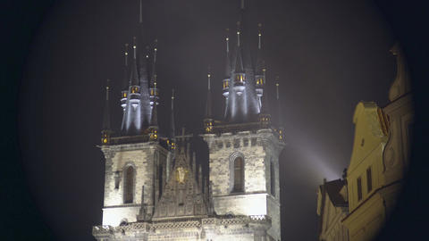 Beautiful night view of Gothic church at the Old Town of Prague, Czech Republic Footage