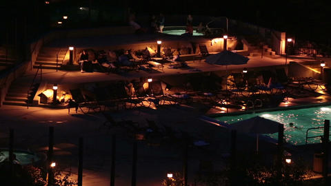 Night luxury resort swimming pool outdoor HD 8595 Footage