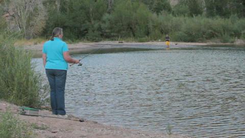 Pam fishing pond P HD 1768 Stock Video Footage
