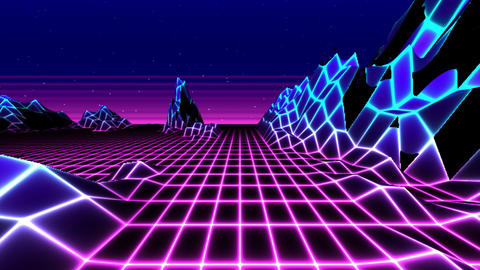 Looped retrowave horizon landscape with neon lights and low poly terrainshaded Animation