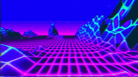 Looped VHS styled retro background horizon landscape with nlow poly terrain Animation