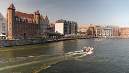 Old town in Gdansk city, Poland. Motlawa river Acción en vivo