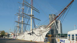 Dar Pomorza museum ship docked at the quay in Gdynia city, Poland Live Action