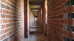 Thick brick walls inside the Malbork Castle Live Action