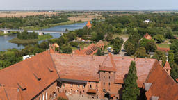 Malbork castle and Nogat river from above Live Action