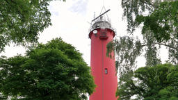 Lighthouse in Krynica Morska town, Poland Live Action