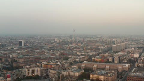 AERIAL: Beautiful view over Berlin, Germany Alexanderplatz Tower in Beautiful Live Action