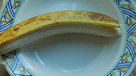 Banana being peeled and chopped (stop motion) Animation