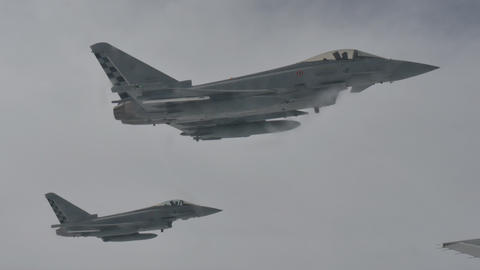 Military Aircrafts Flying in Formation after Flight Refueling Live Action