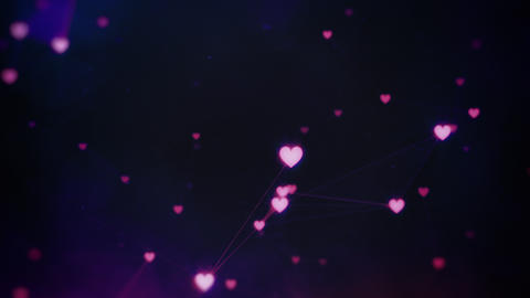 Rotating Connected Pink Hearts Plexus Animation